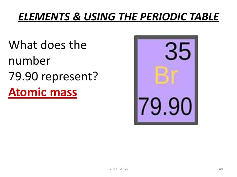 ELEMENTS & USING THE PERIODIC TABLE 2011.GUGS48 What does the number 79.90 represent Atomic mass
