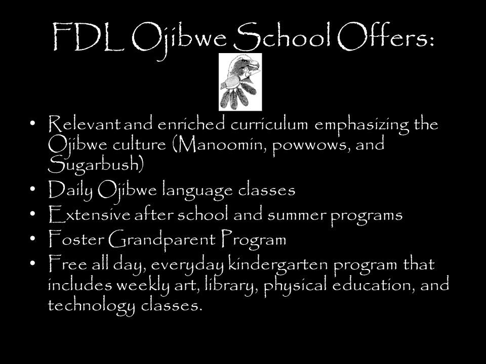FDL Ojibwe School Offers: Relevant and enriched curriculum emphasizing the Ojibwe culture (Manoomin, powwows, and Sugarbush) Daily Ojibwe language classes Extensive after school and summer programs Foster Grandparent Program Free all day, everyday kindergarten program that includes weekly art, library, physical education, and technology classes.