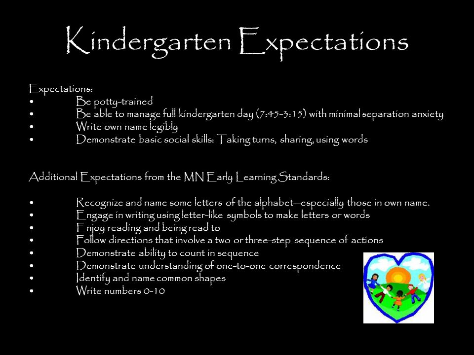 Kindergarten Expectations Expectations: Be potty-trained Be able to manage full kindergarten day (7:45-3:15) with minimal separation anxiety Write own name legibly Demonstrate basic social skills: Taking turns, sharing, using words Additional Expectations from the MN Early Learning Standards: Recognize and name some letters of the alphabet—especially those in own name.