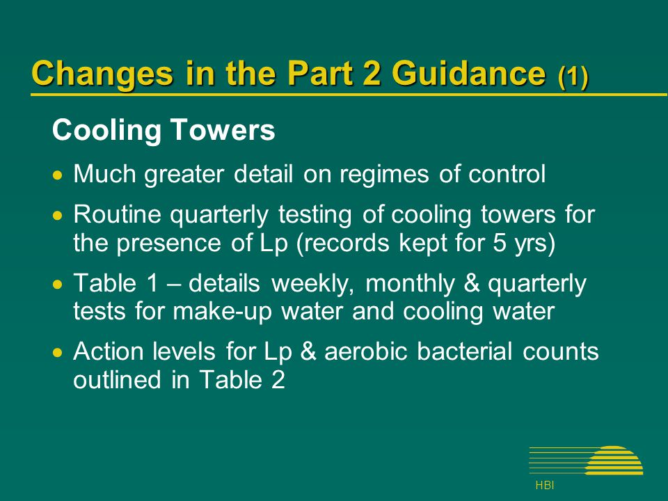 HBI Changes in the Part 2 Guidance (1) Cooling Towers  Much greater detail on regimes of control  Routine quarterly testing of cooling towers for the presence of Lp (records kept for 5 yrs)  Table 1 – details weekly, monthly & quarterly tests for make-up water and cooling water  Action levels for Lp & aerobic bacterial counts outlined in Table 2