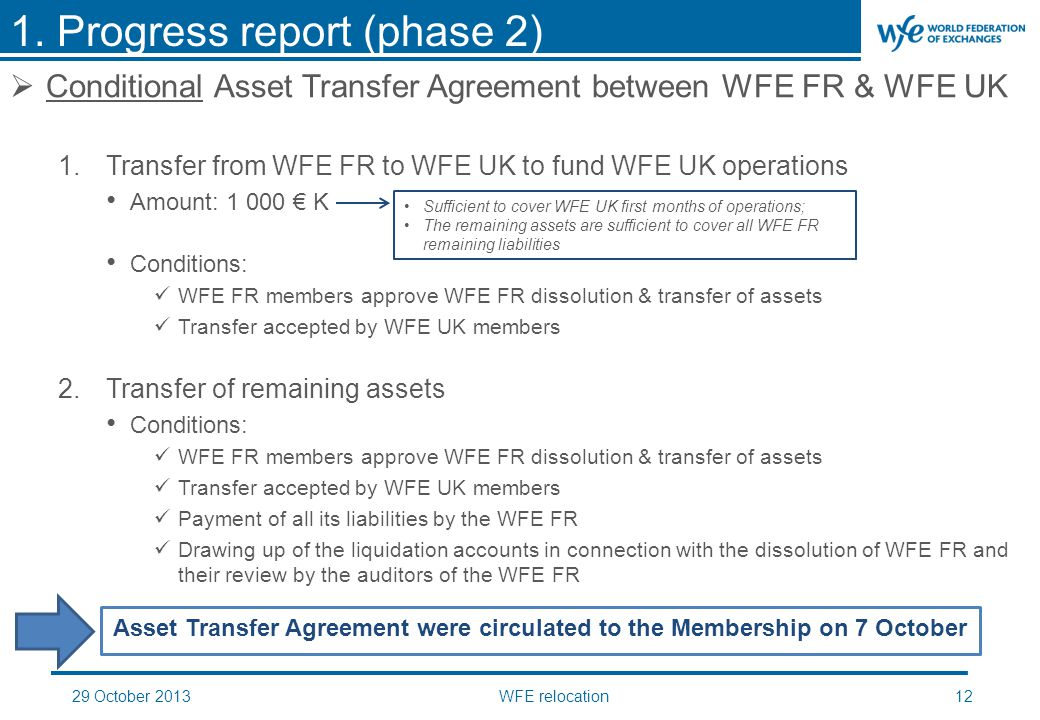 29 October 2013WFE relocation12  Conditional Asset Transfer Agreement between WFE FR & WFE UK 1.Transfer from WFE FR to WFE UK to fund WFE UK operations Amount: 1 000 € K Conditions: WFE FR members approve WFE FR dissolution & transfer of assets Transfer accepted by WFE UK members 2.Transfer of remaining assets Conditions: WFE FR members approve WFE FR dissolution & transfer of assets Transfer accepted by WFE UK members Payment of all its liabilities by the WFE FR Drawing up of the liquidation accounts in connection with the dissolution of WFE FR and their review by the auditors of the WFE FR 1.