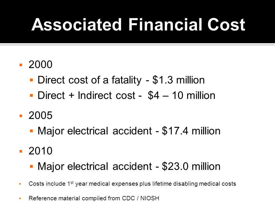  2000  Direct cost of a fatality - $1.3 million  Direct + Indirect cost - $4 – 10 million  2005  Major electrical accident - $17.4 million  2010  Major electrical accident - $23.0 million  Costs include 1 st year medical expenses plus lifetime disabling medical costs  Reference material compiled from CDC / NIOSH