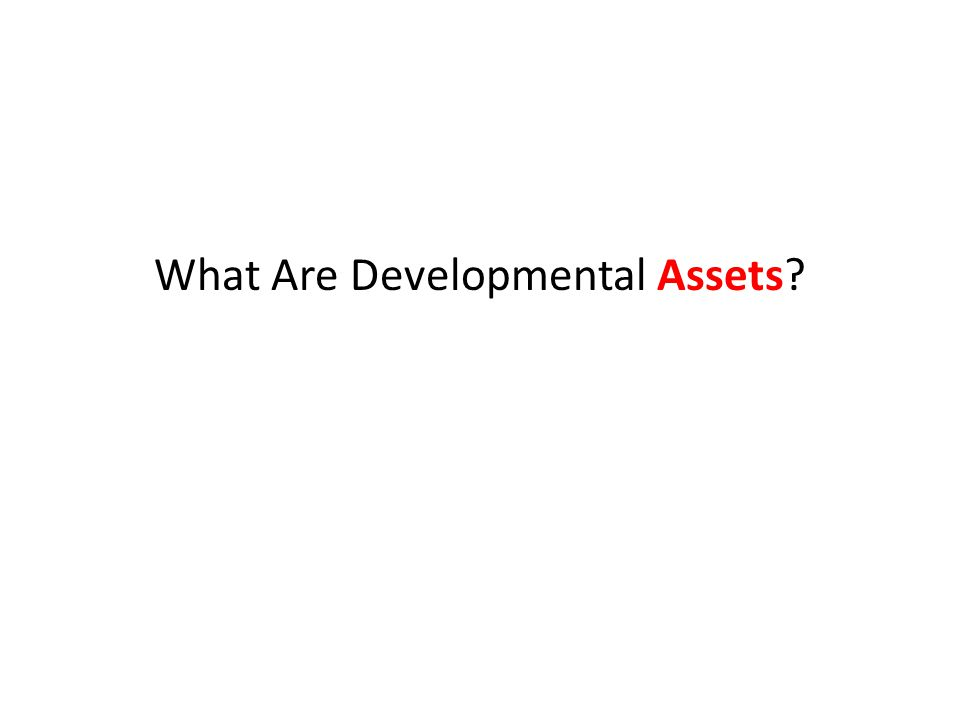 To learn more about Developmental Assets take a cyber journey to www.search-institute.org/content/congregations Search Institute® has identified the following building blocks of healthy development—known as Developmental Assets®—that help young people grow up healthy, caring, and responsible.