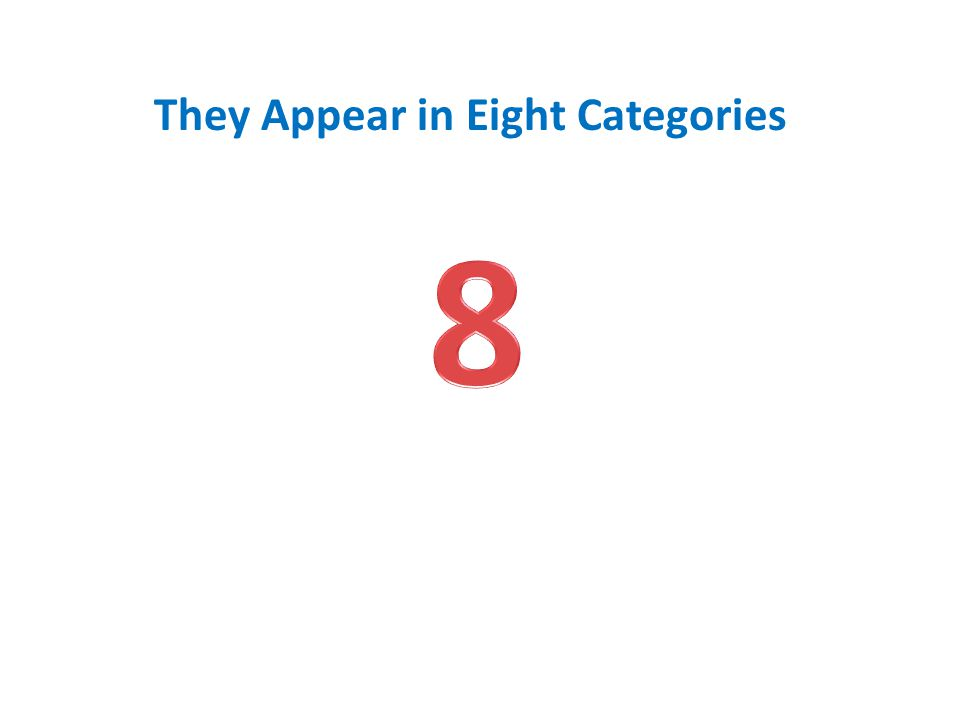 They Appear in Eight Categories