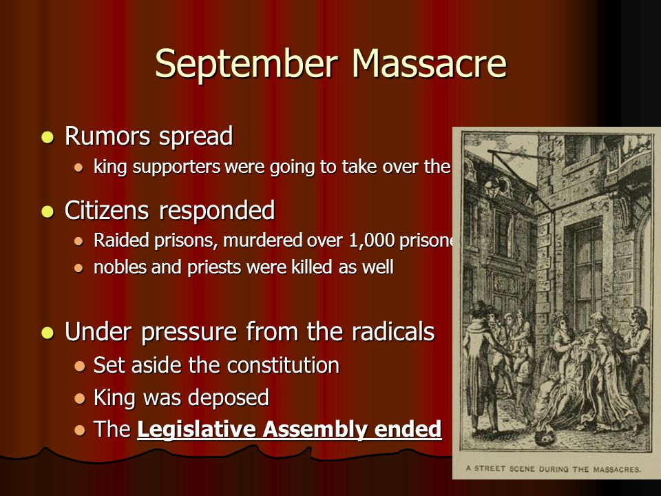 September Massacre Rumors spread Rumors spread king supporters were going to take over the city king supporters were going to take over the city Citiz