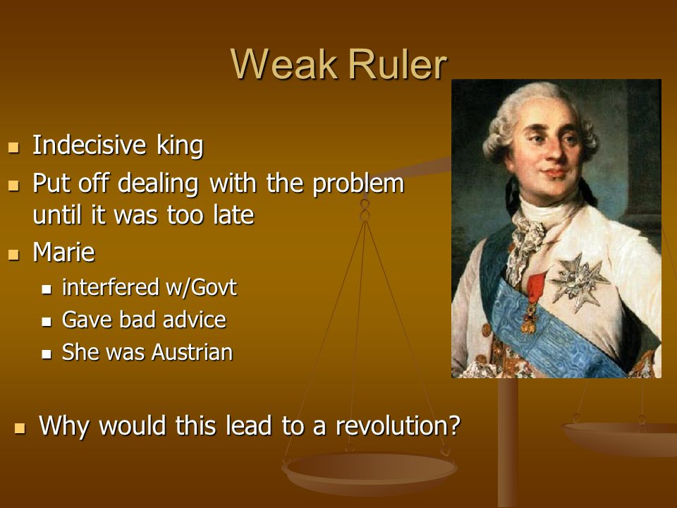 Weak Ruler Indecisive king Indecisive king Put off dealing with the problem until it was too late Put off dealing with the problem until it was too la