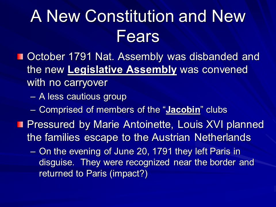 A New Constitution and New Fears October 1791 Nat.