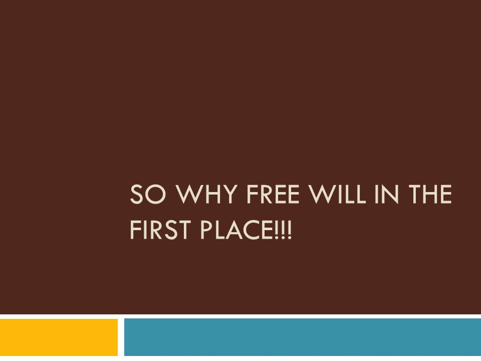 SO WHY FREE WILL IN THE FIRST PLACE!!!