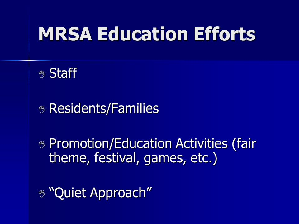 MRSA Education Efforts  Staff  Residents/Families  Promotion/Education Activities (fair theme, festival, games, etc.)  Quiet Approach