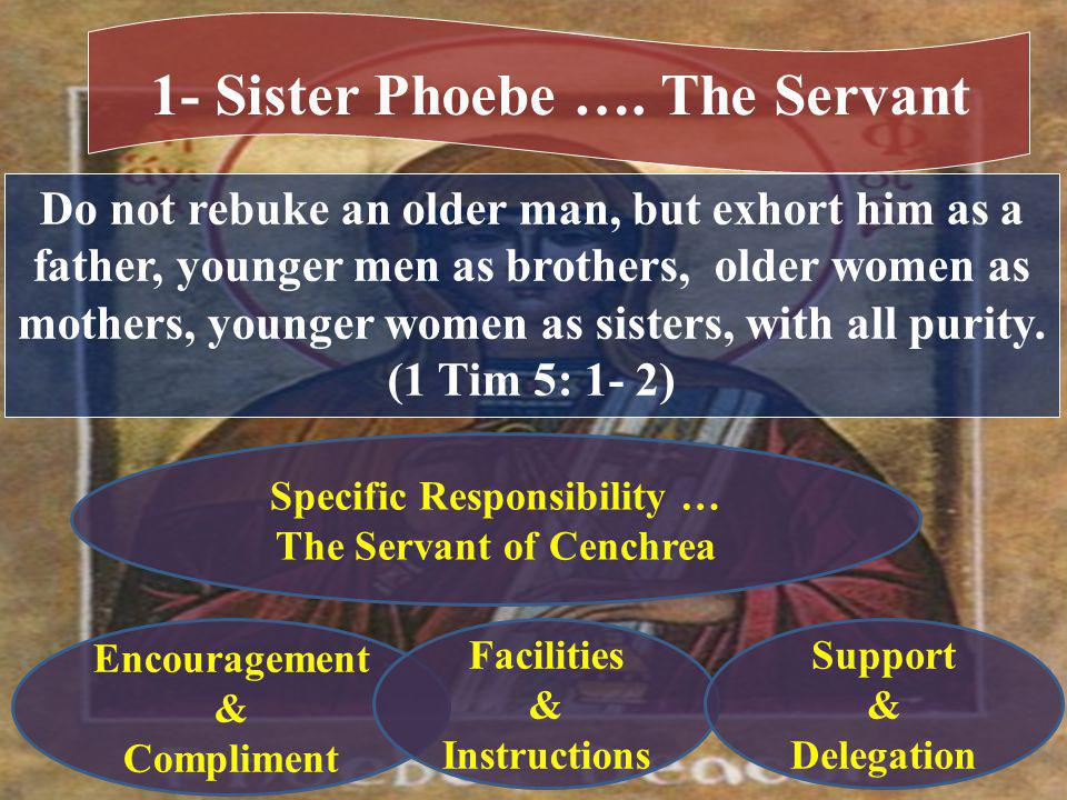 Do not rebuke an older man, but exhort him as a father, younger men as brothers, older women as mothers, younger women as sisters, with all purity.