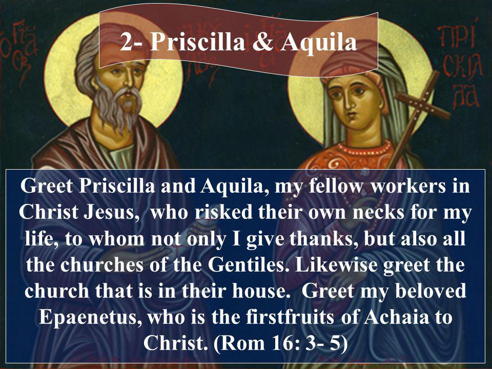 Greet Priscilla and Aquila, my fellow workers in Christ Jesus, who risked their own necks for my life, to whom not only I give thanks, but also all the churches of the Gentiles.