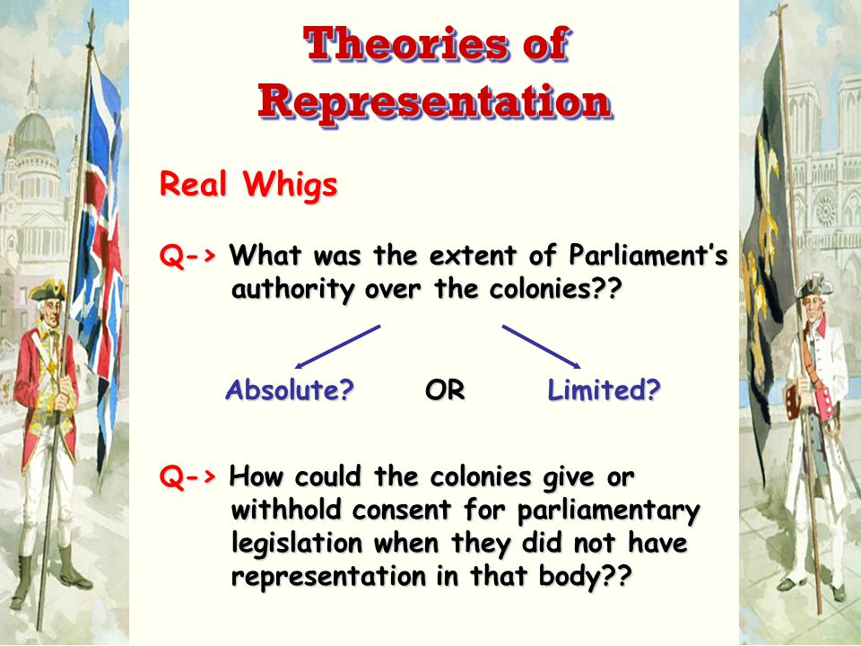Real Whigs Q-> What was the extent of Parliament's authority over the colonies .