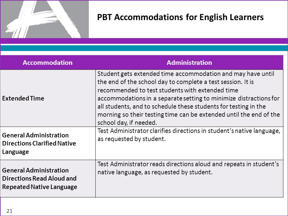 PBT Accommodations for English Learners 21 AccommodationAdministration Extended Time Student gets extended time accommodation and may have until the end of the school day to complete a test session.