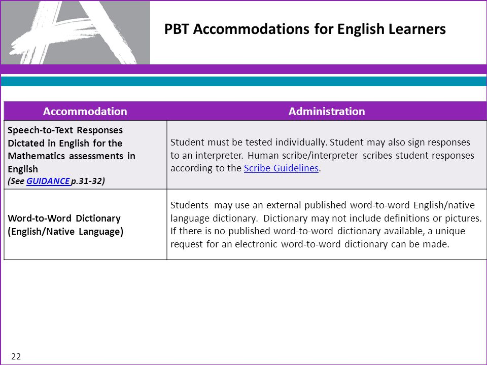 PBT Accommodations for English Learners 22 AccommodationAdministration Speech-to-Text Responses Dictated in English for the Mathematics assessments in English (See GUIDANCE p.31-32)GUIDANCE Student must be tested individually.