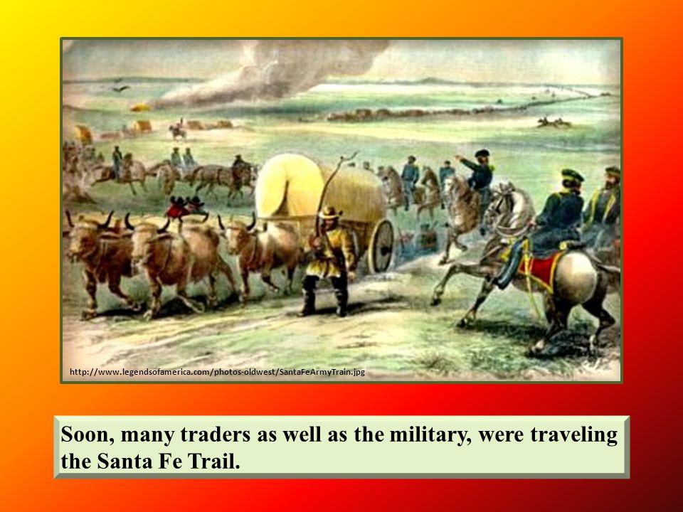 http://www.oksenate.gov/senate_artwork/images/artwork/santa_fe_trail.html Artist Wayne Cooper depicts a wagon train crossing the Cimarron River at the Willow Bar Crossing.