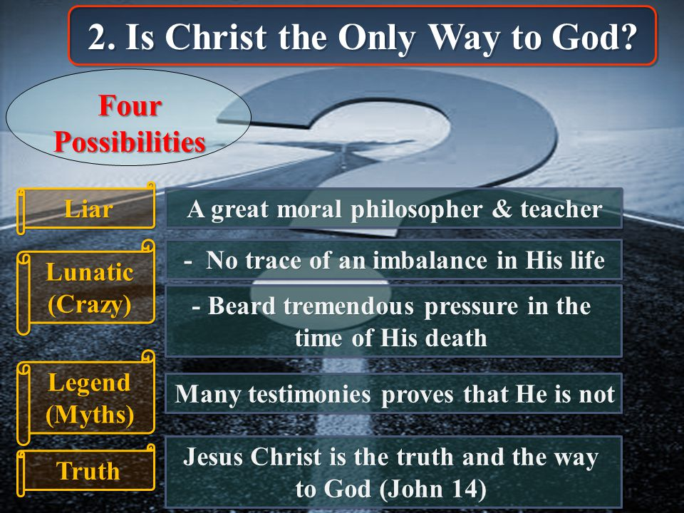 2. Is Christ the Only Way to God.