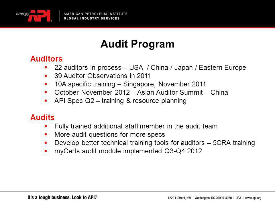Auditors  22 auditors in process – USA / China / Japan / Eastern Europe  39 Auditor Observations in 2011  10A specific training – Singapore, Novemb