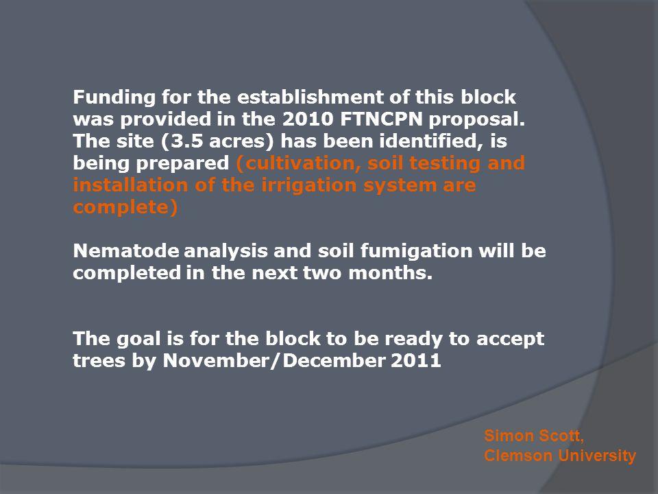 Simon Scott, Clemson University Funding for the establishment of this block was provided in the 2010 FTNCPN proposal.