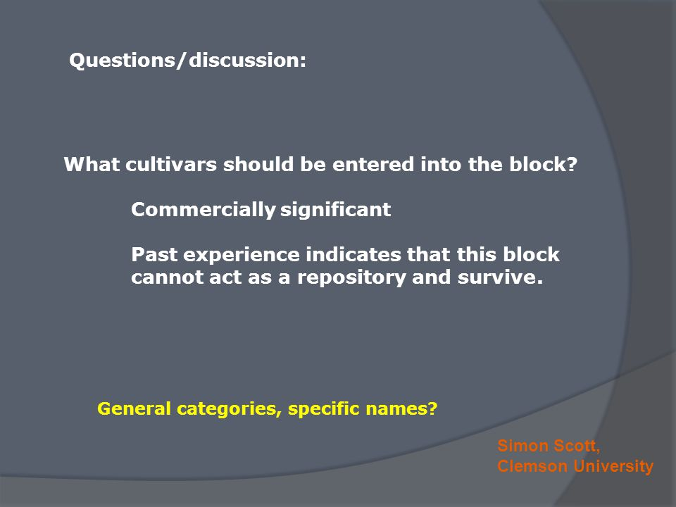 Simon Scott, Clemson University Questions/discussion: What cultivars should be entered into the block? Commercially significant Past experience indica