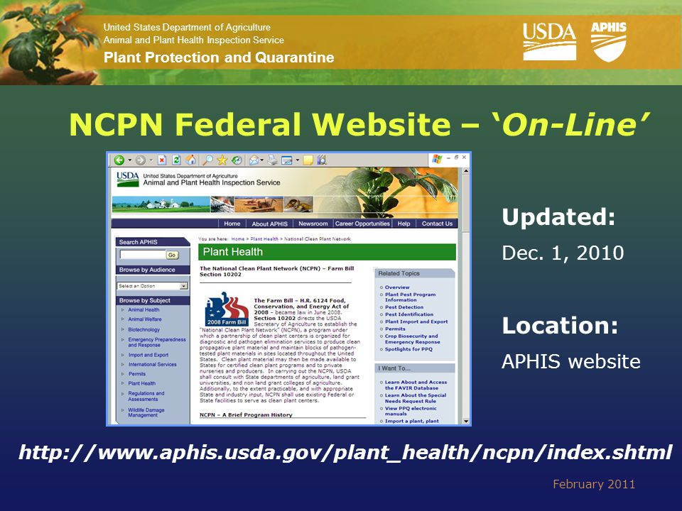 United States Department of Agriculture Animal and Plant Health Inspection Service Plant Protection and Quarantine NCPN Federal Website – 'On-Line' Up