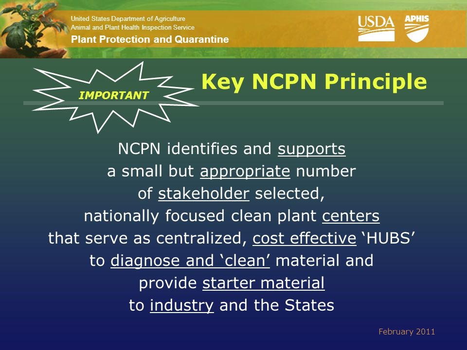 United States Department of Agriculture Animal and Plant Health Inspection Service Plant Protection and Quarantine For more information about NCPN: Erich S.