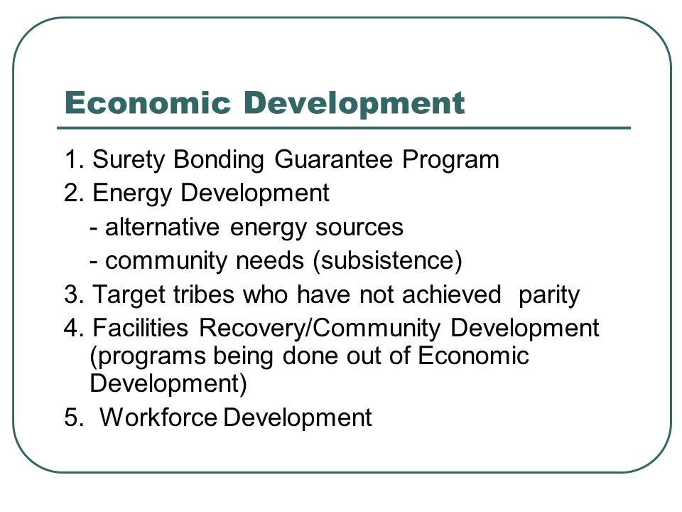 Economic Development 1.Surety Bonding Guarantee Program 2.