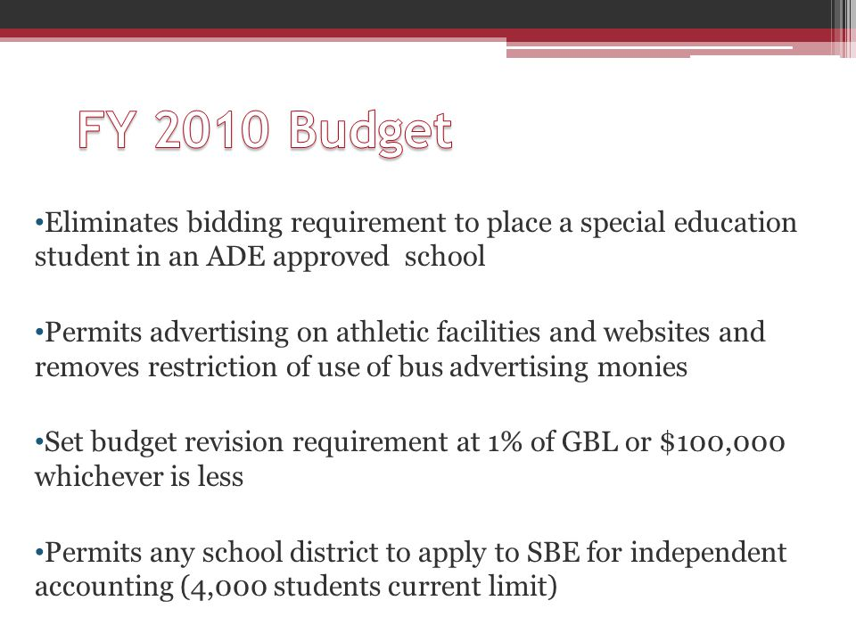 Eliminates bidding requirement to place a special education student in an ADE approved school Permits advertising on athletic facilities and websites