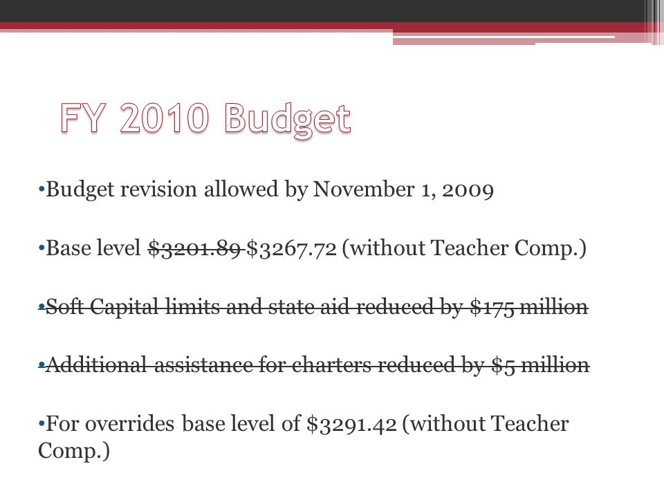 Budget revision allowed by November 1, 2009 Base level $3201.89 $3267.72 (without Teacher Comp.) Soft Capital limits and state aid reduced by $175 million Additional assistance for charters reduced by $5 million For overrides base level of $3291.42 (without Teacher Comp.)