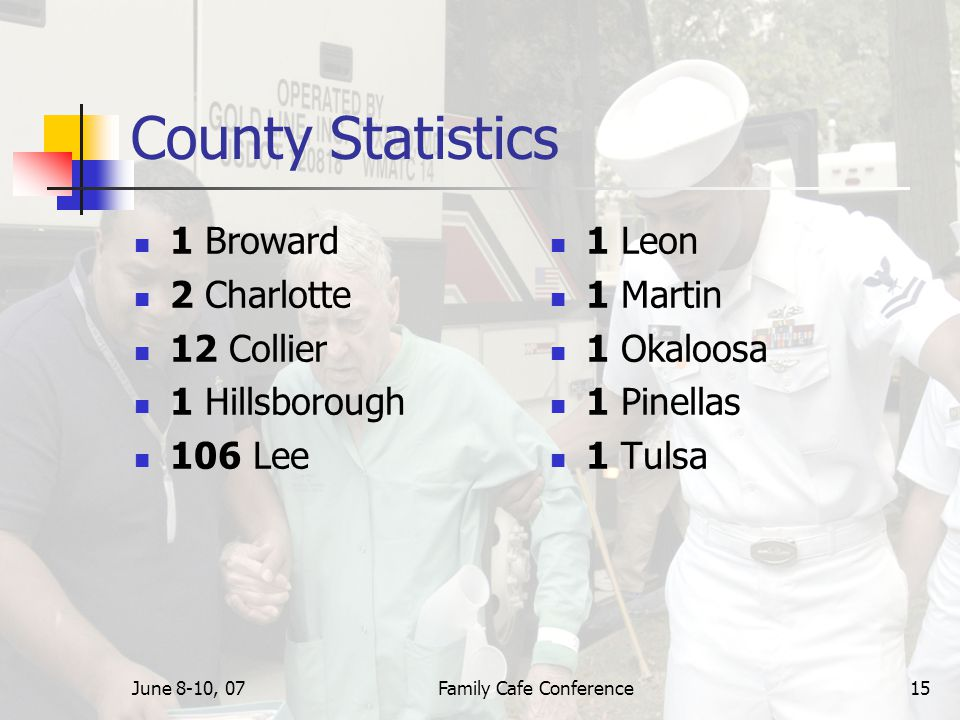 June 8-10, 07Family Cafe Conference15 County Statistics 1 Broward 2 Charlotte 12 Collier 1 Hillsborough 106 Lee 1 Leon 1 Martin 1 Okaloosa 1 Pinellas 1 Tulsa