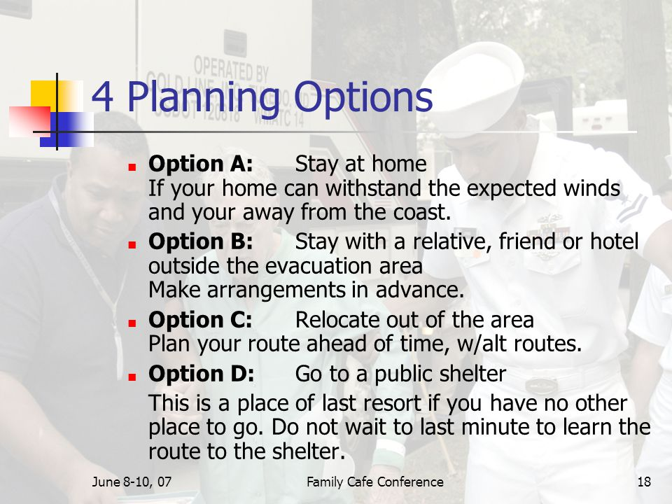 June 8-10, 07Family Cafe Conference18 4 Planning Options Option A: Stay at home If your home can withstand the expected winds and your away from the coast.