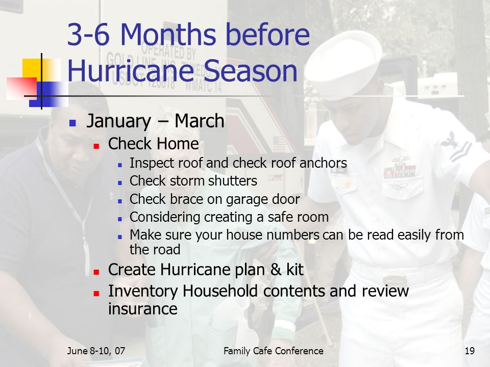 June 8-10, 07Family Cafe Conference19 3-6 Months before Hurricane Season January – March Check Home Inspect roof and check roof anchors Check storm shutters Check brace on garage door Considering creating a safe room Make sure your house numbers can be read easily from the road Create Hurricane plan & kit Inventory Household contents and review insurance