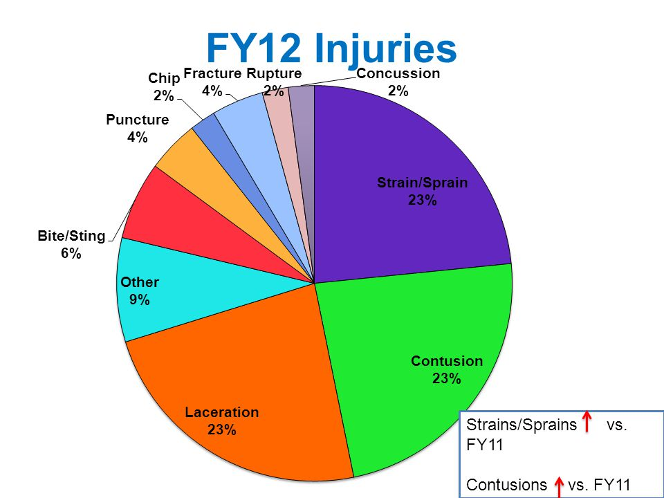 FY12 Injuries Strains/Sprains vs. FY11 Contusions vs. FY11