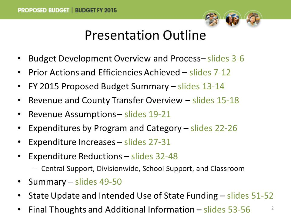 Category: Classroom Classroom includes teachers (classroom, art, music, physical education, special education, and electives); instructional assistants; and textbooks and supplies – FY 2015 proposed budget prior to reductions totals $1,507.6 million including 17,054.3 positions Reductions total 2%, or $36.0 million, including 468.7 positions – The strategy was to protect the classroom and student programming as much as possible 43