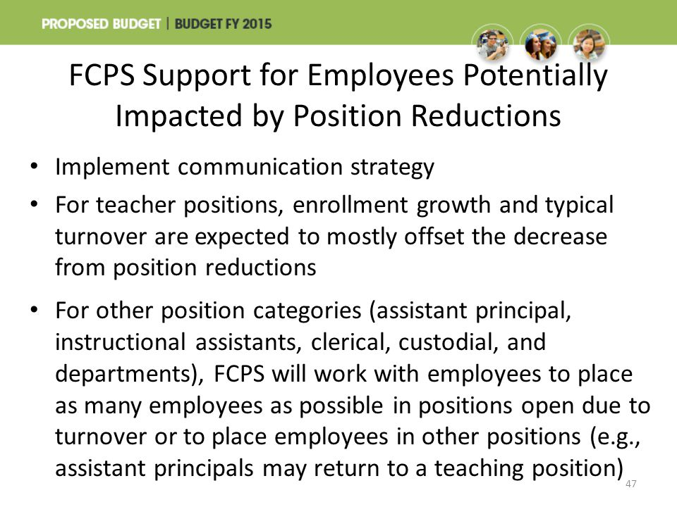 FCPS Support for Employees Potentially Impacted by Position Reductions 47 Implement communication strategy For teacher positions, enrollment growth an