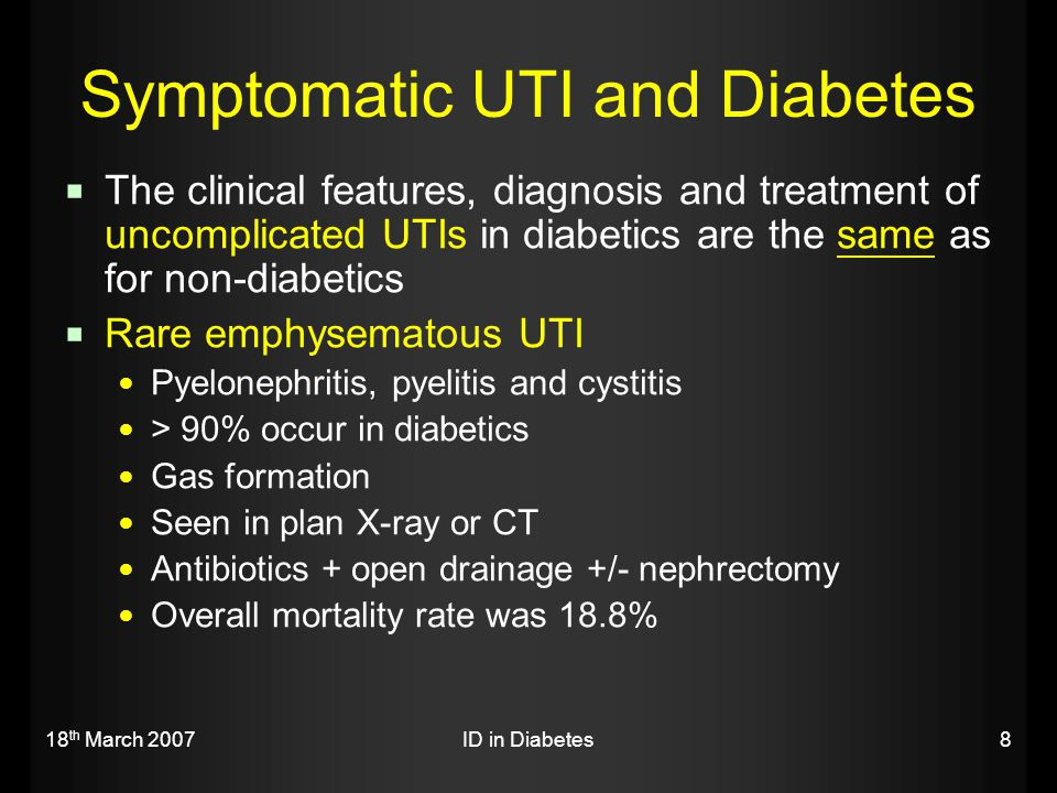 18 th March 2007ID in Diabetes19  Concerns Wide spread of resistance About 20-30 % of E.