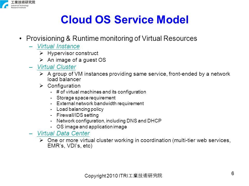 Copyright 2010 ITRI 工業技術研究院 7 CloudOS Virtualization Level … PM OS APs vm OS APs vm OS APs vm OS APs vm … PM OS APs vm OS APs vm OS APs vm OS APs vm … PM OS APs vm OS APs vm OS APs vm OS APs vm … PM OS APs vm OS APs vm OS APs vm OS APs vm … VCluster VDC CloudOS