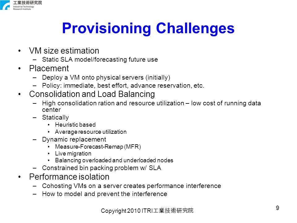 Copyright 2010 ITRI 工業技術研究院 10 RPM Static Resource Provisioning Statically provision from SLA SLA w/ historical data.