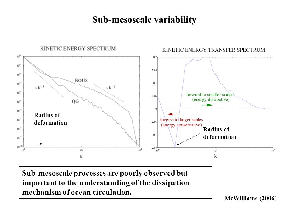 McWilliams (2006) Sub-mesoscale variability Sub-mesoscale processes are poorly observed but important to the understanding of the dissipation mechanism of ocean circulation.