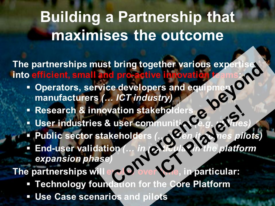 201120102012201320142015 SME Innovation 3 rd Call Use Case Expansion Phase Call 3 Phase 3 (part of the ICT work programme 2013) TF Continuation (IP) Obj 1.7 Technology Foundation (IP) Call 1 Phase 1 Obj 1.8 Use Case Scenarios (IP) Up to 8 Use Case Scenarios Obj 1.9 Capacity Building & Infrastructure (CSA) Obj 1.10 Programme Facilitation & Support (CSA) Up to 5 Trials Phase 2 Call 2 Obj 1.8 Use Case Trials (IP) Obj 1.9 Capacity Building (IP) Programme Architecture