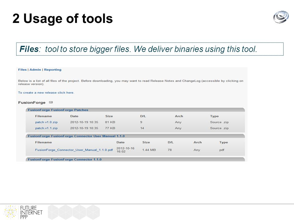 2 Usage of tools Files: tool to store bigger files. We deliver binaries using this tool.