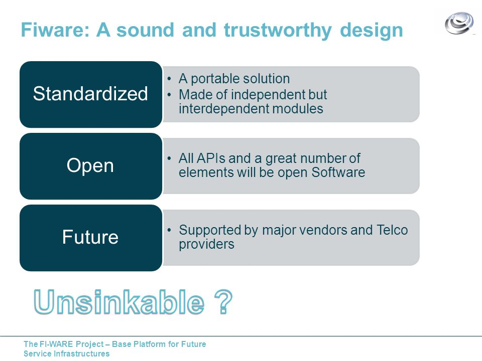 The FI-WARE Project – Base Platform for Future Service Infrastructures Fiware: A sound and trustworthy design A portable solution Made of independent but interdependent modules Standardized All APIs and a great number of elements will be open Software Open Supported by major vendors and Telco providers Future