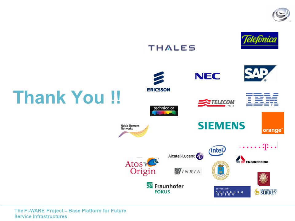 The FI-WARE Project – Base Platform for Future Service Infrastructures Thank You !!