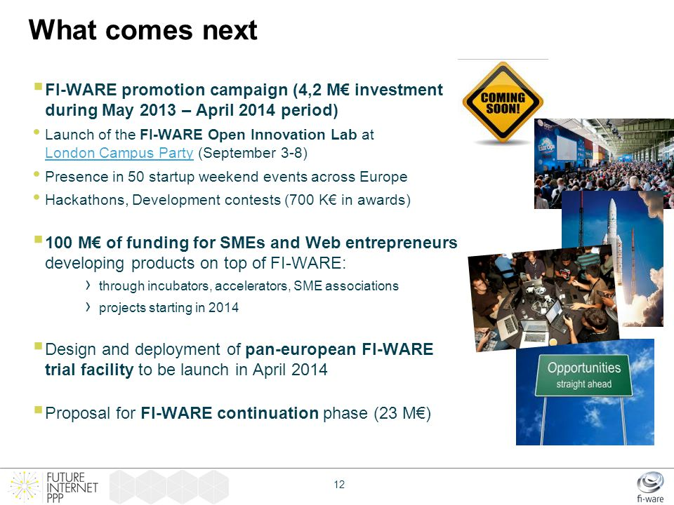 What comes next  FI-WARE promotion campaign (4,2 M€ investment during May 2013 – April 2014 period) Launch of the FI-WARE Open Innovation Lab at Lond