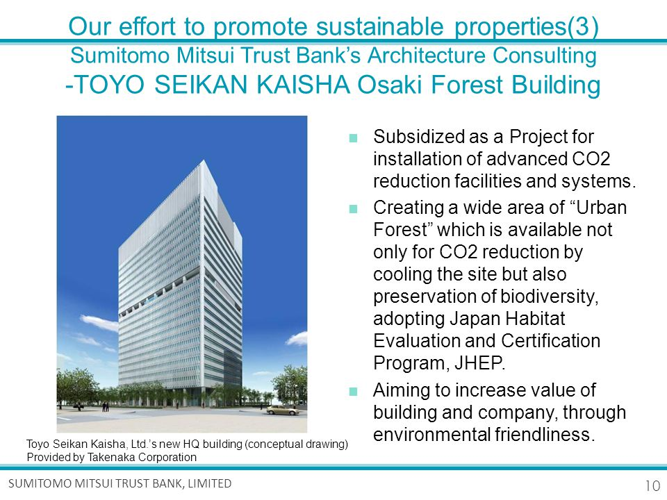 10 SUMITOMO MITSUI TRUST BANK, LIMITED Our effort to promote sustainable properties(3) Sumitomo Mitsui Trust Bank's Architecture Consulting -TOYO SEIKAN KAISHA Osaki Forest Building Subsidized as a Project for installation of advanced CO2 reduction facilities and systems.