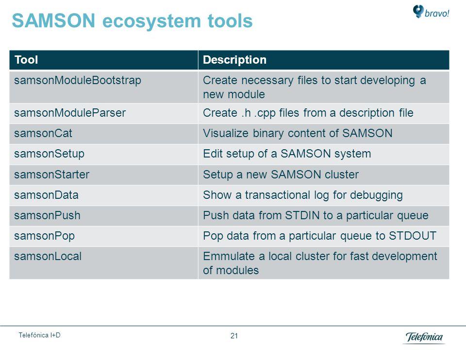 Telefónica I+D 21 SAMSON ecosystem tools ToolDescription samsonModuleBootstrapCreate necessary files to start developing a new module samsonModuleParserCreate.h.cpp files from a description file samsonCatVisualize binary content of SAMSON samsonSetupEdit setup of a SAMSON system samsonStarterSetup a new SAMSON cluster samsonDataShow a transactional log for debugging samsonPushPush data from STDIN to a particular queue samsonPopPop data from a particular queue to STDOUT samsonLocalEmmulate a local cluster for fast development of modules