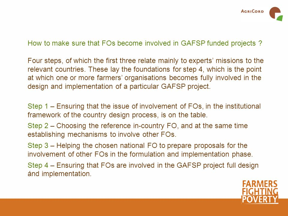 How to make sure that FOs become involved in GAFSP funded projects .