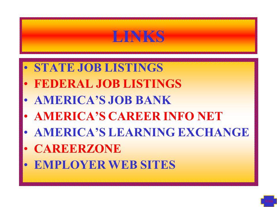 KN99 LINKS STATE JOB LISTINGS FEDERAL JOB LISTINGS AMERICA'S JOB BANK AMERICA'S CAREER INFO NET AMERICA'S LEARNING EXCHANGE CAREERZONE EMPLOYER WEB SITES
