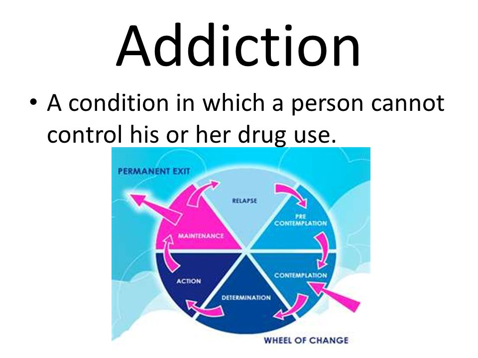 Addiction A condition in which a person cannot control his or her drug use.