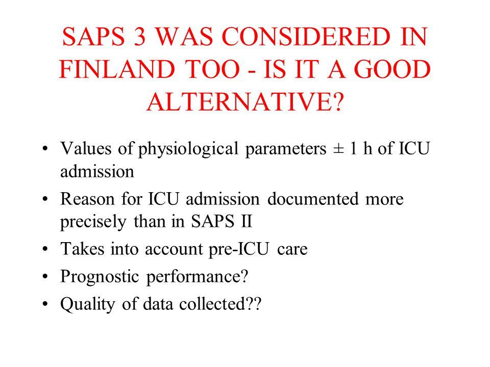 The SAPS 3 Study Metnitz et al ICM 2005: 31:1336-1344.