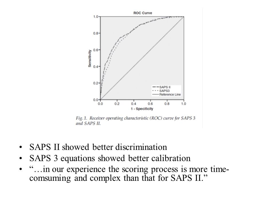"SAPS II showed better discrimination SAPS 3 equations showed better calibration ""…in our experience the scoring process is more time- comsuming and co"